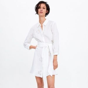 nwt ZARA belted embroidered tunic dress